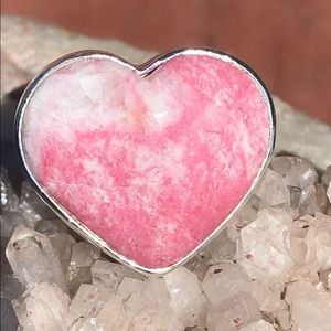 BOUTIQUE PINK THULITE 925 STERLING SILVER RING 8.5
